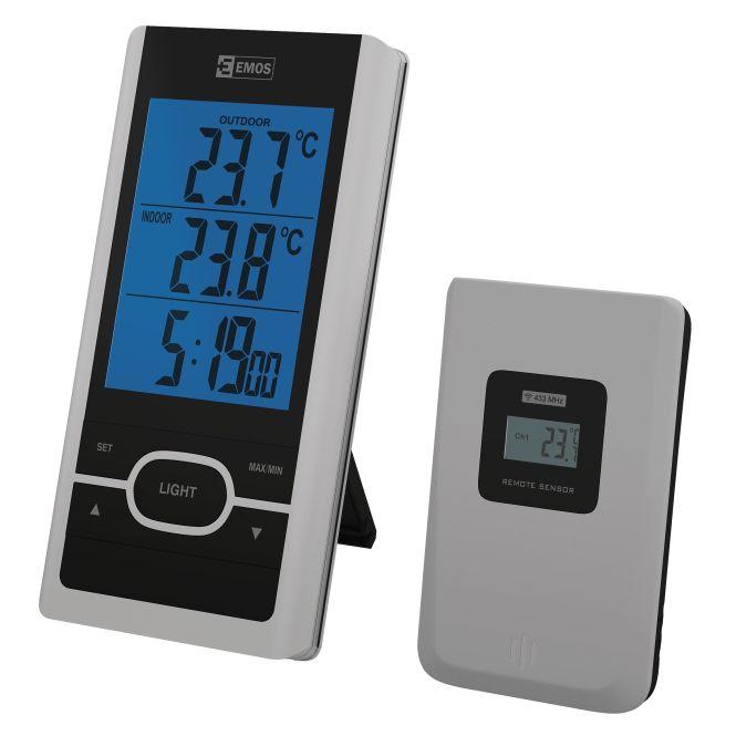 EMOS Bevielis skaitmeninis termometras su laikrodžiu E0107