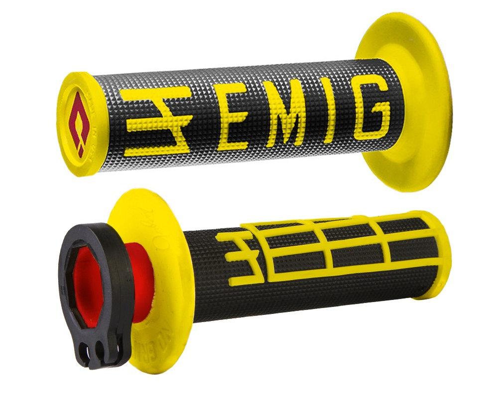 ODI EMIG V2 Lock-On 4-Stroke Half Waffle Grips Black Yellow H34EMBY