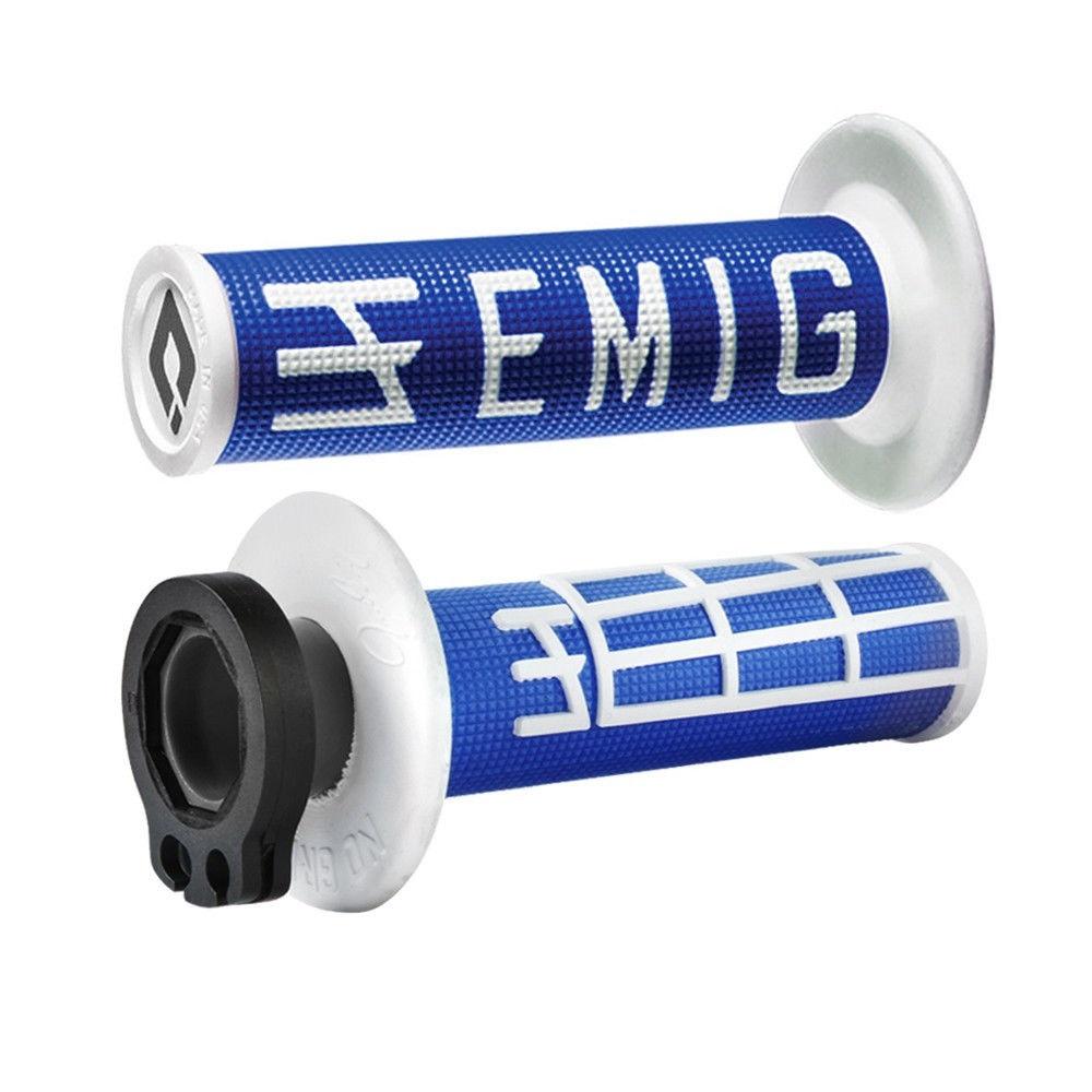 ODI EMIG V2 Lock-On 4-Stroke Half Waffle Grips Blue White H34EMUW