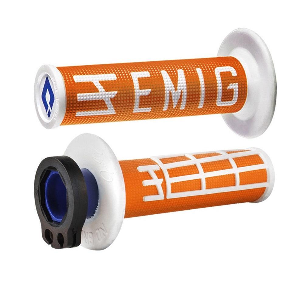ODI EMIG V2 Lock-On 4-Stroke Half Waffle Grips Orange White H34EMOW