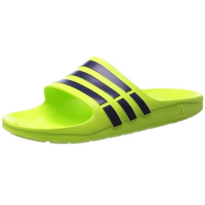 adidas Duramo Slide Sandals Solar Yellow Midnight Indigo 4